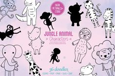Black Silhouette, Jungle Animals, Vector Graphics, Animal Drawings, Design Bundles, How To Draw Hands, Elephant, Doodles, Doodle