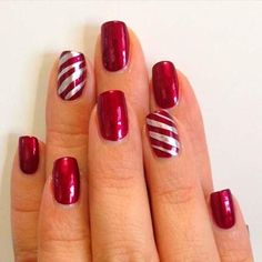 29 Festive Christmas Nail Art Ideas – Your Nails – Ombre Nails – Accent Nails Christmas Gel Nails, Christmas Nail Art Designs, Christmas Fun, Holiday, Glam Nails, Red Nails, Candy Cane Nails, Nailart, Nagel Gel