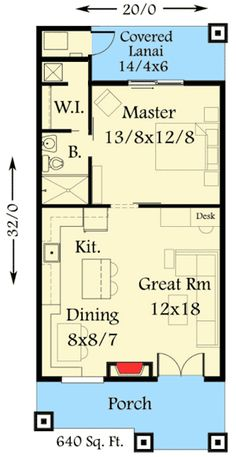 Rustic Guest Cottage or Vacation Getaway Craftsman Mountain Vacation Exclusive Narrow Lot Floor Master Suite CAD Available PDF Architectural Designs Plan Tiny House, Tiny House Design, Small House Plans, House Floor Plans, Tiny Guest House, One Bedroom House Plans, The Plan, How To Plan, Casa Loft