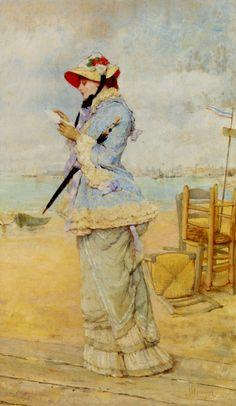 Lady by the Sea.Frederick Hendrik Kaemmerer (Dutch, 1839-1902).Oil on panel.