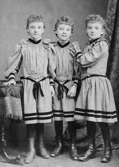 Triplets, girls, kids, look alike, similar out fits, vintage, photo, history, cute, nuttet.