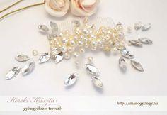 Gyöngyös-köves hajfésű esküvőre, tetszőleges színben és elrendezésben kérhető!