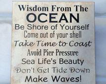 Beach sign, Beach house sign, Beach decoration, Wooden beach sign, wisdom  from the ocean sign, ocean advice sign