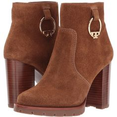 Tory Burch Sofia 80mm Lug Sole Boot (Festival Brown) Women's Dress... ($428) ❤ liked on Polyvore featuring shoes, boots, ankle booties, ankle boots, brown boots, tory burch boots, leather boots and leather bootie