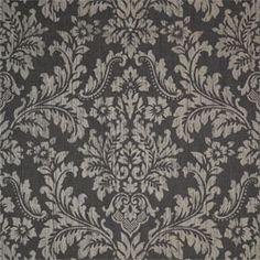 Parisian Damask #wallpaper in #black from the Texture Resource 2 collection. #Thibaut