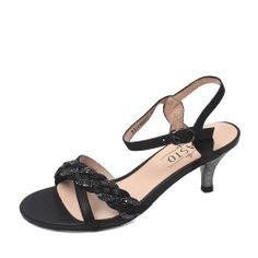 【百思图basto 14B01BL4 黑色】BASTO/百思图2014夏季黑色蜥蜴纹羊皮女皮凉鞋14B01BL4