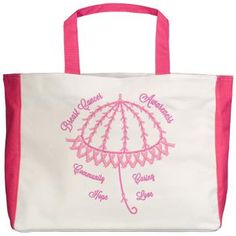 Pink Ribbon Umbrella Beach Tote    An umbrella of pink ribbons to represent the shelter from a caring community supporting Breast Cancer awareness. Wear pink and show you care. Be part of a community of love bringing hope.  $27.99    This image is the backside, the front image is smaller due to a pocket in the design.