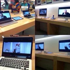 The biggest of hugs to the lovely human being who came up with this and did it!!! >>I forgot to post this earlier but look what someone did at the apple store just to beat the record! Lol. Good job to whoever did it!