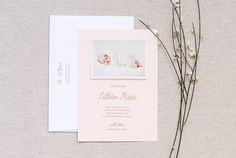 Blush Pink Letterpress Birth Announcements: http://ohsobeautifulpaper.com/2015/03/lillians-blush-pink-letterpress-birth-announcements/ | Design + Photo: Callidora Letterpress + Design