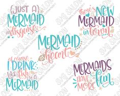 Mermaid Bundle Cut File Set in SVG, EPS, DXF, JPEG, and PNG