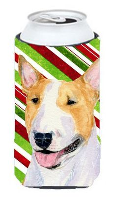 Bull Terrier Candy Cane Holiday Christmas Tall Boy Beverage Insulator Beverage Insulator Hugger