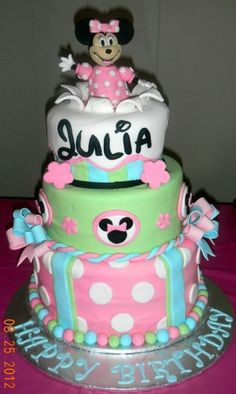 minnie mouse birthday cake By tiny17pr on CakeCentral.com