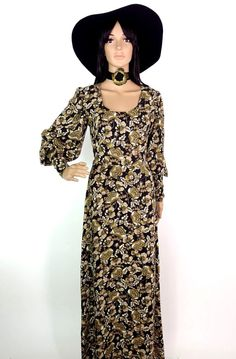 Gorgeous Biba Style Drapey Wool Crepe Maxi Dress by HuzzarHuzzar
