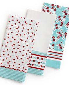 Martha Stewart Collection Kitchen Towels, Set Of 3 Scalloped Print   Kitchen  Gadgets   Kitchen
