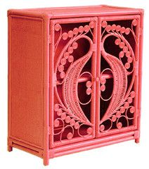 Peacock cabinet features two hinged doors with a beautiful swirling peacock design. The top, sides and inner shelf are tightly woven in ratt...