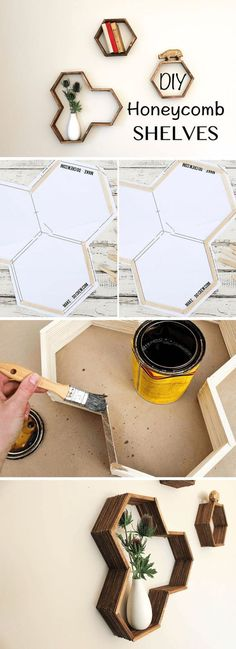 Honeycomb Shelves | 17 Easy DIY Home Decor Craft Projects