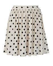 White Polka Skater Skirt from New Look