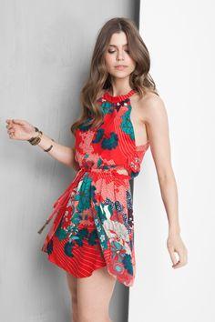 vestido abertura lateral estampado kimono | Dress to