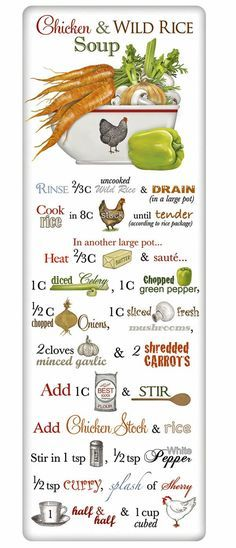 Homemade Chicken Wild Rice Soup Recipe 100% Cotton Flour Sack Dish Towel Tea Towel
