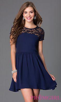 Short Scoop Neck Short Sleeve Dress at PromGirl.com