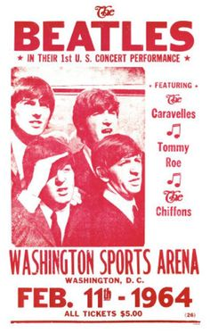 On Feb. 11, 1964, The Beatles give their first live concert performance in the U.S. at the Washington Coliseum in Washington, D.C., less than 48 hours after the band's appearance on The Ed Sullivan Show.