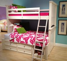 beautiful twin over full bunk bed, love the fuchsia bedding by Pine Cone Hill! #hpmkt
