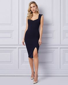 Knit Crêpe Sweetheart Cocktail Dress - A front slit adds sultry style to this chic cocktail dress featuring a sweetheart neckline and classic cap sleeves. Elopement Dress, Fit Flare Dress, Cap Sleeves, Cocktails, Formal Dresses, Maxi Dresses, Bodycon Dress, Knitting, Chic