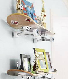 Mounted with L brackets, skateboards function as playful shelves in Nicky's room.
