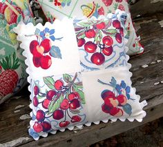 Vintage Tablecloth %Pillow with Colorful Cherries <3 <3 <3 the cherries!