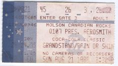 AEROSMITH 1988 TICKET STUBS CNE GRANDSTAND TORONTO Q107 MOLSON CANADIAN TYLER VG From The Mighty Finwah Collection  Safely Stored For Over 31 Years   This Will be a great Gift for any Fan  Shipping will be within 2 days of your payment  All Sales are Guaranteed Satisfaction  We are Fans so we know what fans Expect Ticket Stubs, Aerosmith, Toronto, Great Gifts, Fans, Concerts, Collection