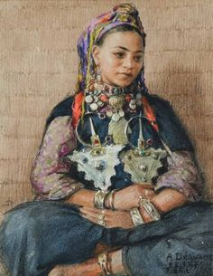 Young Berber woman.  By Dequene Albert,  Pastel and charcoal.  Signed…
