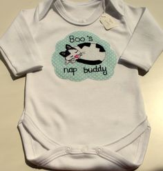 I created this custom order for a family whose beloved cat Boo would soon be welcoming a new nap buddy! Here is baby Joshua modelling his custom onesie, looking very relaxed. Hope Joshua and Boo ar. Bramble, Onesie, Baby Gifts, Cat, Model, Kids, Clothes, Young Children, Outfits