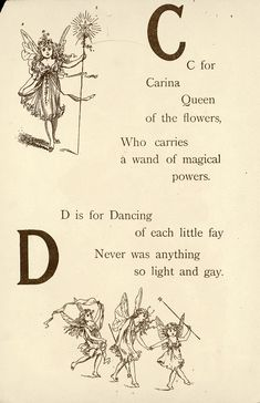 "Fairyland ABC - Father Tuck's ""Alphabet"" Series, ""C for Carina, D for Dancing"" Vintage Fairies, Vintage Art, Flower Fairies, Fairy Art, Magical Creatures, Conte, Nymph, Nursery Rhymes, Faeries"