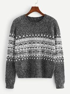 97f677cf752b3d Geo Print Round Neck Sweater -SheIn(Sheinside) Geometric Fabric