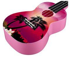 BEAUTIFUL! Korala PUC-30-007 Poly Ukes Pink - Thomann - finish palm tree graphic, backside pink #beach #aloha #hawaii #pink #ukulele