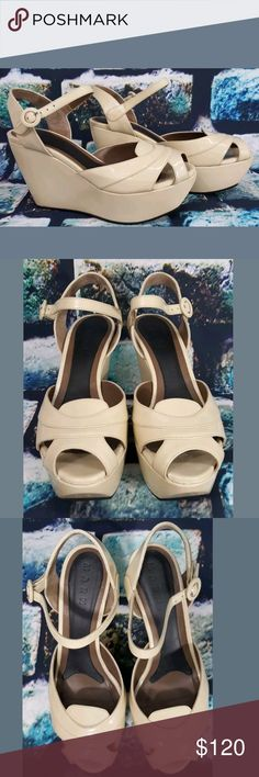 Marni pinup retro peeptoe strappy wedge sandal 9 Brand:?Marni Size:?39 US 9 Condition:?preowned Material:?patent leather Color:?Ivory Details:?peep toe strappy retro wedge sandals? Length inside:?9.5 inches Width inside:?3 inches Platform inside:?1.5?inches Heel height:?4 inches Made in:?Italy Marni Shoes Wedges