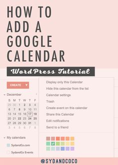 Learn how to easily add a Google Calendar to your WordPress website page or blog post with this step-by-step WordPress Tutorial and Guide. << Syd and Coco