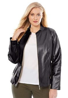 2b7da32c4 Shop a great selection of Jessica London Women s Plus Size Zip Front  Leather Jacket. Find new offer and Similar products for Jessica London  Women s Plus ...