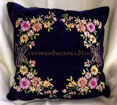 carmenbecares.blogspot.com : Bordado con cintas Ribbon Embroidery Tutorial, Embroidery Flowers Pattern, Embroidery Sampler, Silk Ribbon Embroidery, Hand Embroidery Designs, Flower Patterns, Embroidery Stitches, Flower Pillow, Brazilian Embroidery
