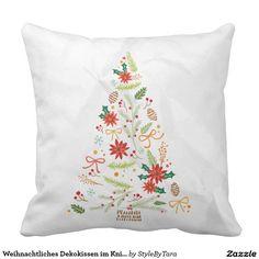 Weihnachtliches Dekokissen im Knitterlook Kissen