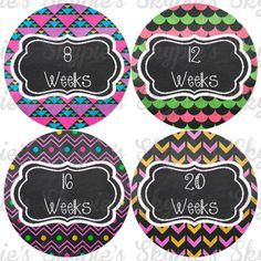 INSTANT DOWNLOAD DIY Pregnant Belly Stickers Weekly Pregnancy Stickers - Chalkboard
