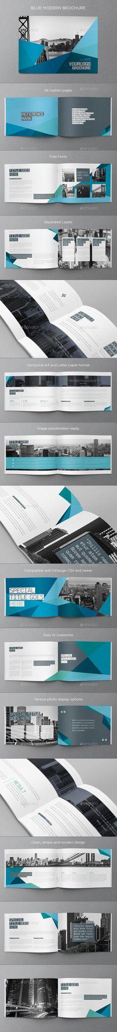 Blue Modern Brochure, Fonts: SaxMono & Source Sans Pro, via graphicriver.net