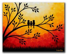 Family birds Artwork Original Painting 8x10 door SKArtzGallerE