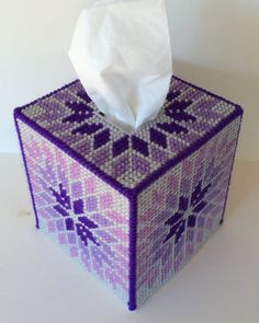 Purple Starburst Tissue Cover  handmade Boutique size canvas & acrylic yarn  | eBay