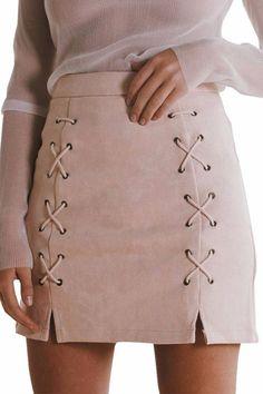 Crisscross Suede Skirt