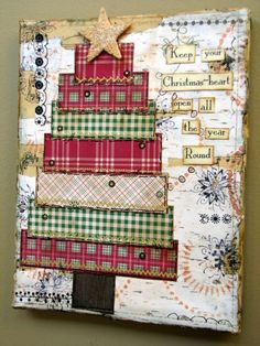 mixed media collage by Christy Tomlinson This would be lovely to do for the holiday!