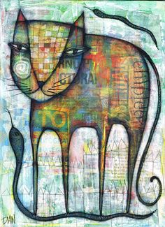 Dan Casado   CAT AND SNAKES acrylic and collage on wood 2012