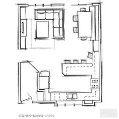 Open plan kitchen layout remodel to change floor plan dream home kitchen open plan kitchen living room and kitchen living open plan office layout ideas The Plan, How To Plan, Open Plan Kitchen Dining Living, Open Plan Living, Kitchen Small, Living Room Kitchen Layout, Small Kitchen Floor Plans, Small Open Kitchens, One Wall Kitchen