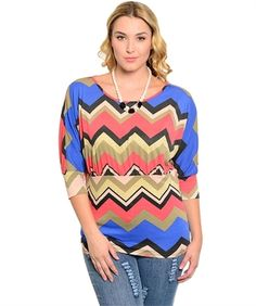 Mocha and Royal Blue Chevron Blouse Top with Necklace - Plus Size