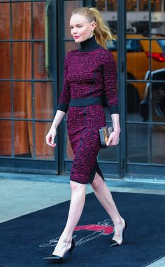 The 11 Celebrities With the Best Feminine Style via @WhoWhatWear--- kate bosworth in a magenta patterned matching set